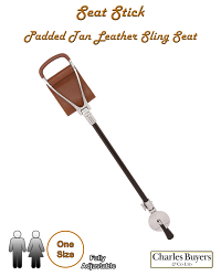 Tan Shooting Stick with Padded Seat and Ferrule