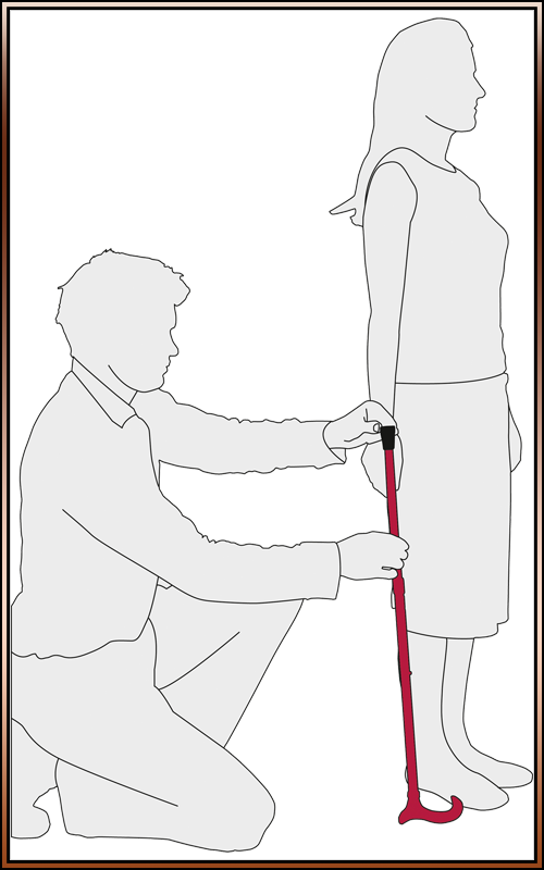 Measuring a person for a walking stick